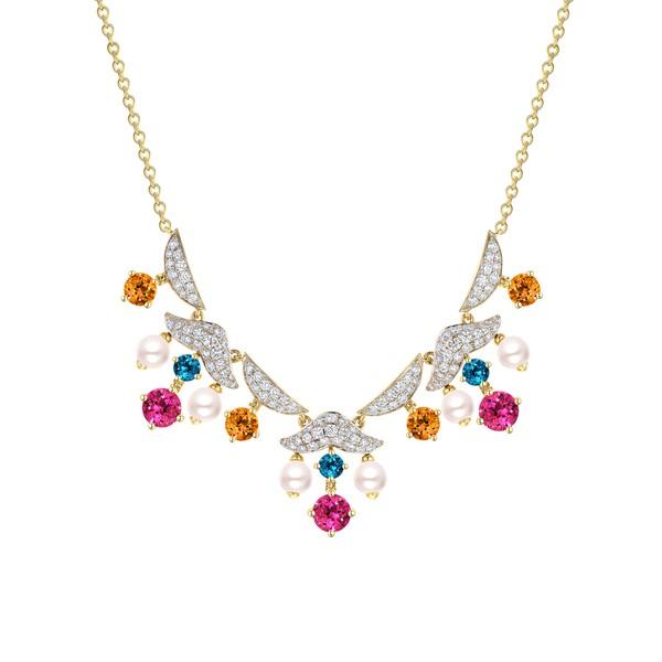 18K金镶多种宝石及钻石珍珠项链