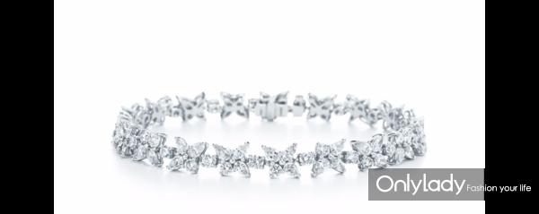 Tiffany & Co. 蒂芙尼Victoria系列铂金镶钻手链