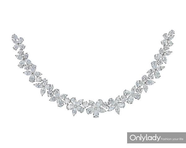 Tiffany & Co. 蒂芙尼Victoria系列铂金镶钻项链