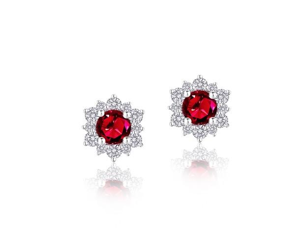 Snowflake雪花系列 18K金镶嵌红宝石及钻石耳饰