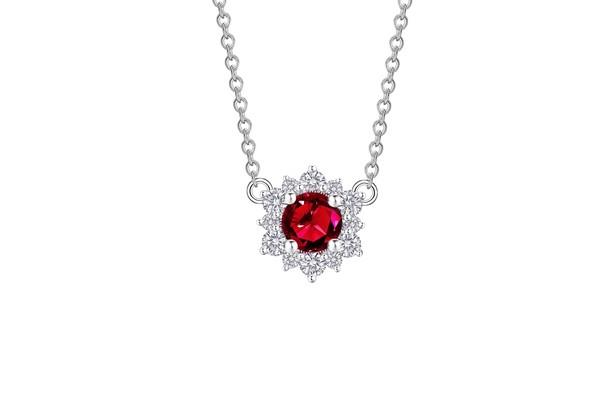 Snowflake雪花系列 18K金镶嵌红宝石及钻石项链