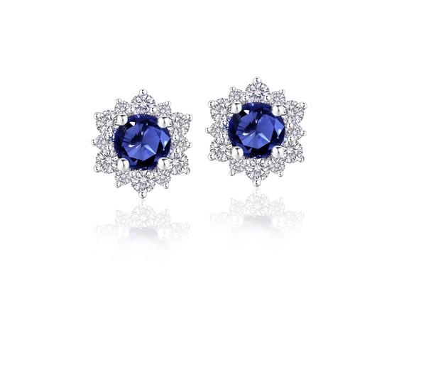 Snowflake雪花系列 18K金镶嵌蓝宝石及钻石耳饰
