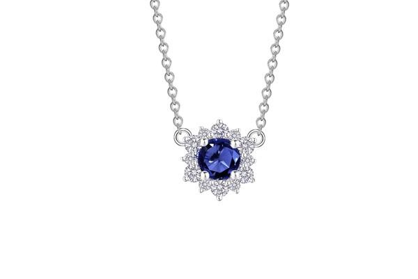 Snowflake雪花系列 18K金镶嵌蓝宝石及钻石项链