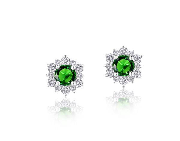 Snowflake雪花系列 18K金镶嵌祖母绿及钻石耳饰