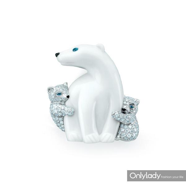 Tiffany-&-Co.-蒂芙尼18K金镶钻北极熊造型胸针