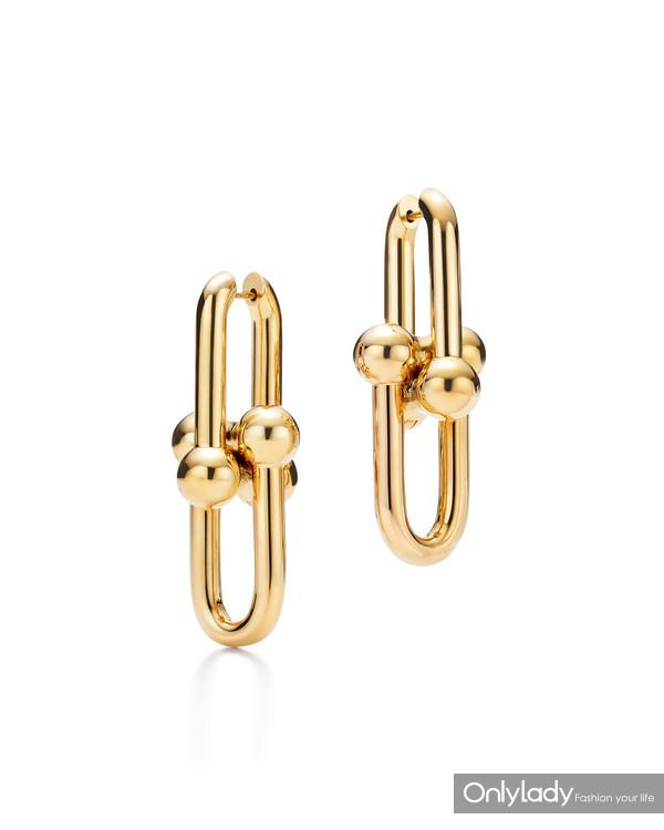 Tiffany & Co. 蒂芙尼HardWear系列18K黄金链环耳坠