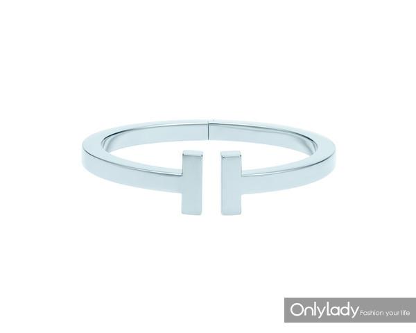 Tiffany & Co.蒂芙尼T系列18K白金手镯
