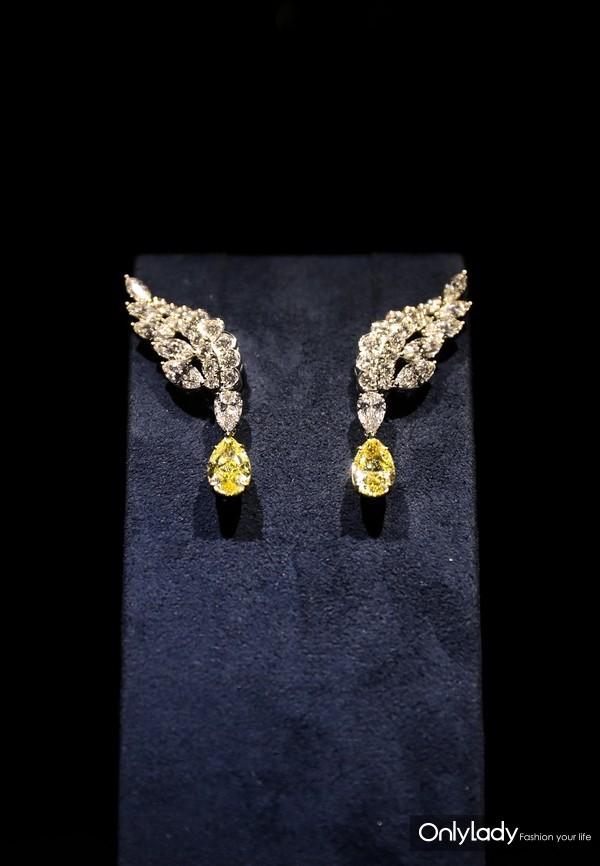 海瑞温斯顿Eagle系列黄钻配钻石耳环