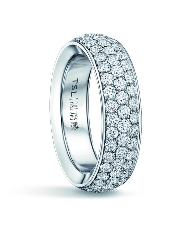 TSL │ 謝瑞麟 Eternity 星愿系列 18K白色黄金镶嵌三排钻石戒指 参考价格:RMB 26,990~31,990