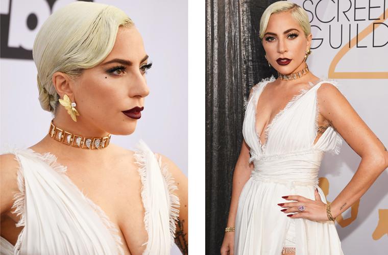 Lady Gaga深V白裙配璀璨珠宝 性感闪耀美国演员工