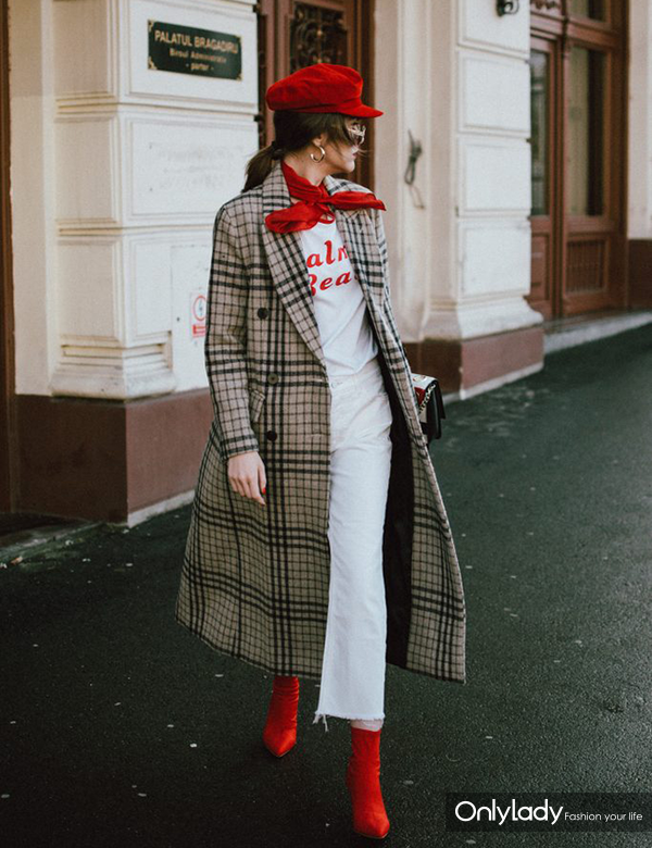 Mango-log-line-check-coat-white-boyfriend-jeans-graphic-tee-red-sock-boots-red-baker-boy-hat-cavalli-bag-andreea-birsan-couturezilla-cute-winter-outfit-2-683x1024