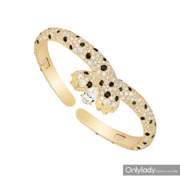 7.FRED斐登Ombre Féline系列黄金镶嵌白钻与黑尖晶石手镯