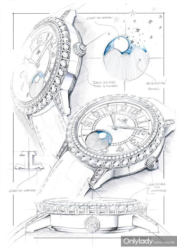 积家Dazzling Rendez-Vous Night & Day约会系列日夜显示珠宝腕表(白金款,设计手稿)