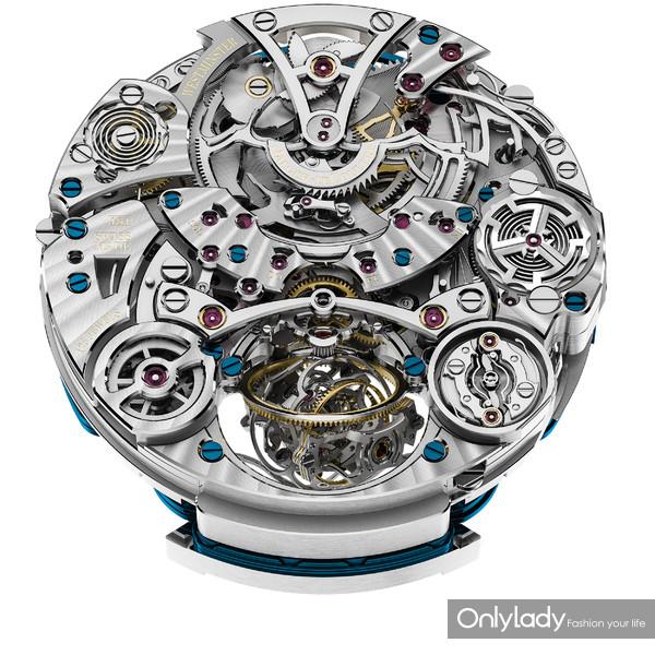 积家Master Grande Tradition Gyrotourbillon Westminster Perpétuel超卓传统大师系列球型陀飞轮西敏寺钟乐万年历腕表(机芯背面)