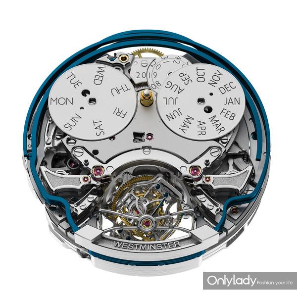 积家Master Grande Tradition Gyrotourbillon Westminster Perpétuel超卓传统大师系列球型陀飞轮西敏寺钟乐万年历腕表(机芯正面)