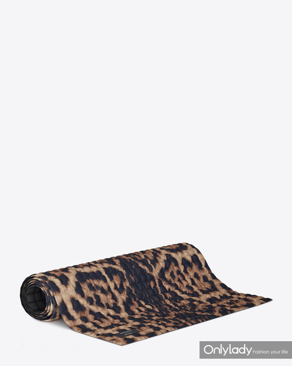 SAINT LAURENT RIVE DROITE COLLABORATION LEOPARD YOGA MAT BY NO KAOI
