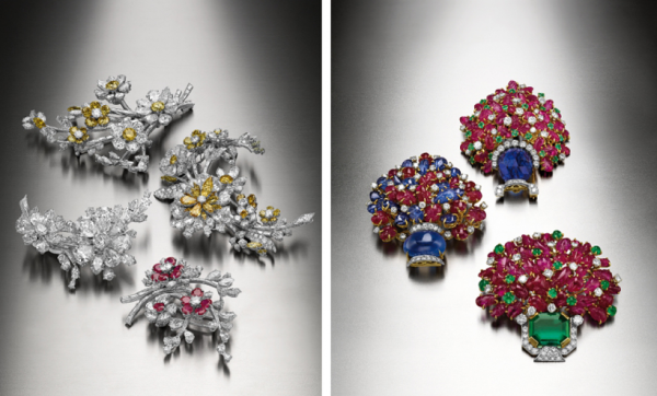 宝格丽古董典藏系列部分珍贵藏品:En Tremblant胸针(左)与Giardinetto胸针(右)