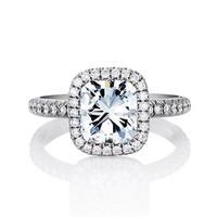 戴比尔斯枕形钻石戒指  订婚戒指