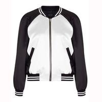 Topshop2014新品黑白拼接棒球衫