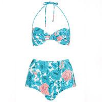Topshop2014新品印花分体泳衣