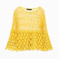 Zara镂空钩花针织衫