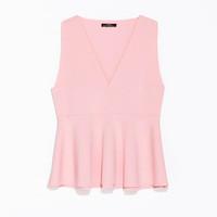Zara2014新品女装V领荷叶边无袖上衣