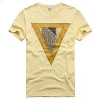 马克华菲2014新款 何图案纯棉V领T恤