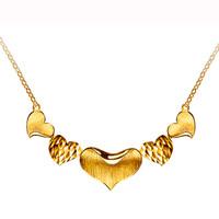 六福珠宝 心形黄金项链