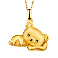 六福珠宝 轻松小熊系列黄金吊坠