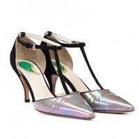 Etro 2014春夏新品 T带尖头高跟鞋 玛丽珍鞋