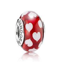 Pandora 红色桃心琉璃圆珠吊饰