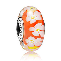 Pandora 花朵琉璃圆珠吊饰