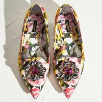 Dolce&Gabbana 2015春夏 牡丹锦缎平底鞋