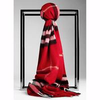巴宝莉 红色格纹羊绒围巾