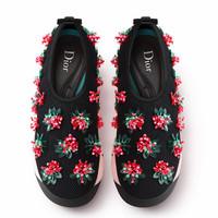 迪奥Dior新款 黑色刺绣跑鞋