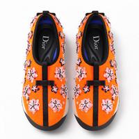 迪奥Dior新款 橘色花朵刺绣跑鞋
