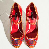 Dolce&Gabbana 印花粗跟鞋