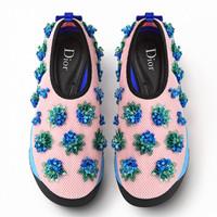 迪奥Dior新款 粉色花朵刺绣跑鞋