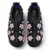 迪奥Dior新款 黑色花朵刺绣跑鞋