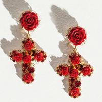 Dolce&Gabbana 金丝玫瑰十字耳环