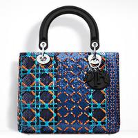 迪奥Lady Dior 亮片提花手提包