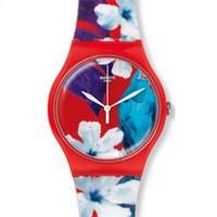 Swatch 彩色花朵图案手表