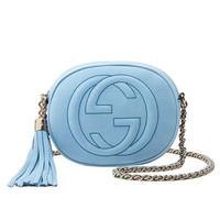 Gucci Soho 天蓝色磨砂皮迷你链条手袋