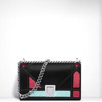 迪奥 Diorama亮片和小羊皮覆盖式袖珍手提包
