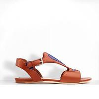 迪奥Dior Camel色和蓝色皮革平底凉鞋