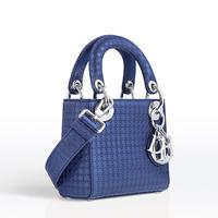迪奥 LADY DIOR  蓝色穿孔小牛皮超小型手提包