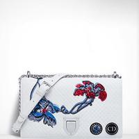 迪奥 Diorama白色绗缝小牛皮覆盖式手提包