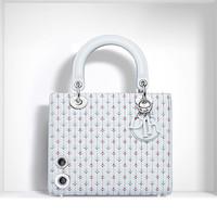 迪奥 Lady Dior Bleu Céleste色绗缝小羊皮手提包