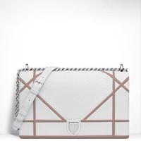 迪奥 Diorama白色亮面蟒蛇皮覆盖式大手提包