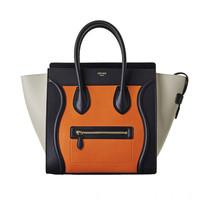 赛琳 Céline Luggage Mini 亮橙色拼象灰色小牛皮手袋